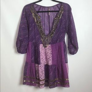 Free People Purple Sequin Patch Tunic Dress